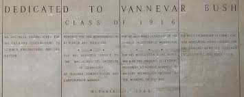 vannevar bush  four large panels words carved in stone the inscriptions reads dedicated to