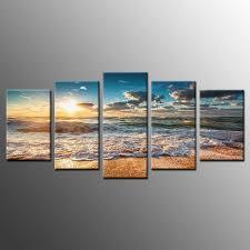 framed landscape wall art decor beach sunrise waves photo canvas prints 5 piece