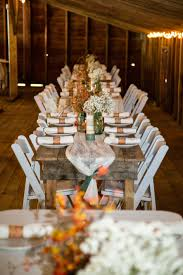 Opens in a new tab. Rustic Farm Tables With White Folding Chairs