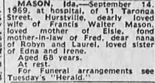 Obituary for Ida MASON (Aged 68) - Newspapers.com