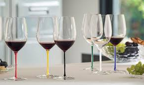 the collection offers a new series of wine glasses in 6 shapes and 6 colours a special edition with a twisted stem in black and white is available in 12