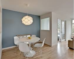 Blue accent wall color - Sherwin Williams Poolhouse blue. white walls are  Benjamin Moore Cloud
