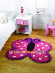 childrens erfly pink purple white rug 90cm x 90cm