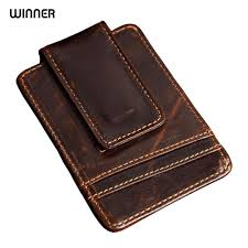 2019 men money clips vintage genuine leather front pocket clamp for money holder magnet magic money clip wallet with card id case from whatless