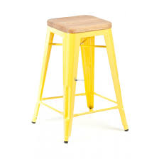 metal bar stools with wood seat. Yellow Steel Stool With Four Legs Combined Foot Rest Also Light Brown Wooden Square Seat Metal Bar Stools Wood R