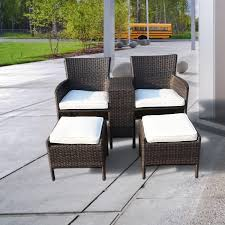 Exterior White Cape May Wicker With Green Cushions On Concrete Cape May Outdoor Furniture