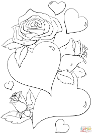 the hearts and roses coloring pages