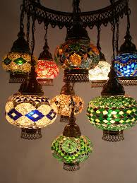 mosaic chandelier mixed length 11 piece mixed colours middle