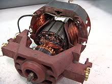electric motor modern low cost universal motor from a vacuum cleaner field windings are dark copper colored toward the back on both sides the rotor s laminated core