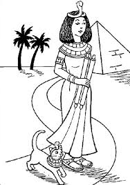 Small Picture A Typical Ancient Egypt Royal Women and Her Pet Cat Colouring Page
