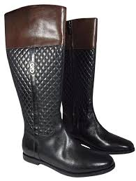 Cole Haan Black Brennan Brown Quilted Flat Riding Boots/Booties ... & 12345 Adamdwight.com