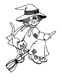 Small Picture Halloween Witch Coloring Pages Happy Old Witch Riding A Broom