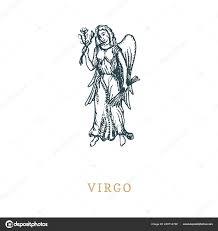 дева знак зодиака символ рисованной в гравировка стиль векторные