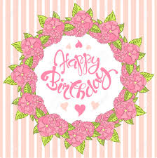 happy birthday pink and green typography banner lettering happy birthday pink wreath green