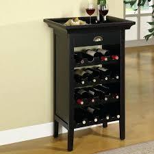 Floor Standing Wine Rack Bottle Black Freestanding Wood