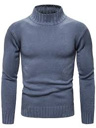 Men's Solid Color Slim Sweater <b>Autumn Winter</b> Knit Turtleneck ...