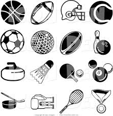 Collection of sixteen black athletic icons over a white background