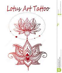 конец вверх татуировки лотоса искусства иллюстрация вектора