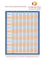 Tax Week & Month Payroll Calendar -