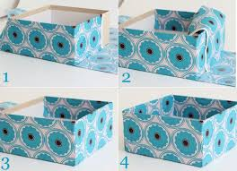 Storage Boxes Decorative Fabric Make a Fabric Storage Box using diaper boxes or a bankers box 4