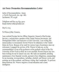 Air Force Letter Of Recommendation Custom Sample Recommendation Letter For Promotion Letters Platformeco