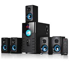 wireless home sound system. befree sound channel surround bluetooth speaker system- blue - reconditionedcomplete your home theater experience with stunning from this ch wireless system p