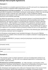 Non Compete Agreement Sample Employee – Pitikih