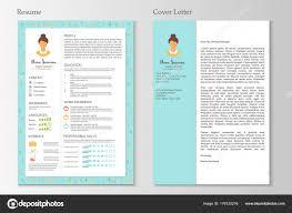 Feminine Resume Cover Letter Infographic Design Stylish Set Women