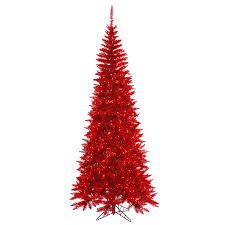 Vickerman 6.5-ft Pre-lit Tinsel Slim Artificial Christmas Tree with 400 Red  Incandescent