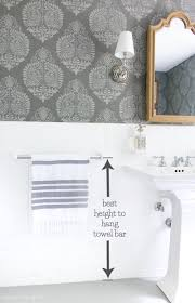 hanging towel on bar. Wonderful Towel Great Tip For How High To Hang Your Bathroom Towel Bar Plus Other Musthave And Hanging Towel On Bar E