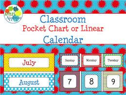 Classroom Calendar In Primary Color Theme