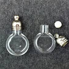 100pieces 20x12mm tiny flat ball glass vial pendant glass bottle locket necklace pendant charms name on