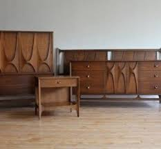 Iconic Mid Century Modern King Bedroom Set Dramatic curves, high arches,  brass pulls.