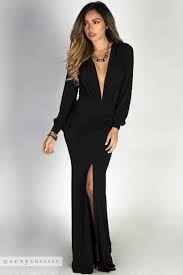 Long sleeve deep plunge dress