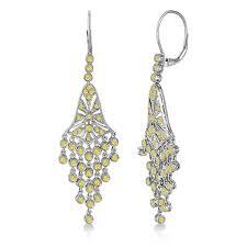 fancy yellow canary diamond chandelier earrings 14k white gold 2 27ct