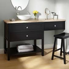 bathroom single bathroom vanity with makeup table round vessel sink under oval frameless mirror and