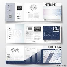 Set Of Tri Fold Brochures Square Design Templates Polygonal Low