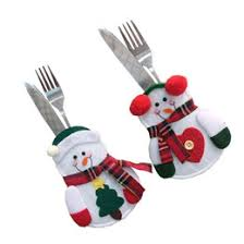 household dining table set christmas snowman knife: hot christmas snowman style candy fork knife bag silverware fork knife bag tableware dinner party decor christmas knives forks promotion