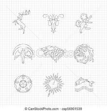 Matita Linea Animali Disegno Araldico Matita Symbols Animali