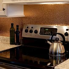 Copper Backsplash Kitchen Fasade 24 In X 18 In Hammered Pvc Decorative Backsplash Panel In