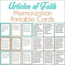 Article Of Faith Memorization Printable Cards Activity Day
