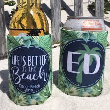 Beach Koozie Designs Beach Vacation Koozies Or Neoprene Coolies Tropical Palm Leaves Life Is Better At The Beach Print