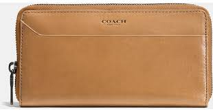 coach modern accordion wallet in water buffalo leather in brown for men lyst