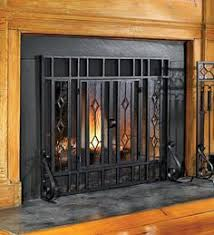 Large Two-Door Floral Fireplace Screen with Beveled Glass Panels ...