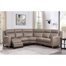 taupe leather 3 piece power reclining