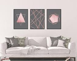 Rose Gold Wall Art Set, Living Room Wall Art Set, Rose Gold Bedroom Decor
