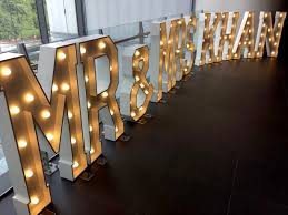 mr mrs khan giant letter lights at lancashire county cricket club