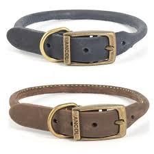 ancol timberwolf round leather dog collar