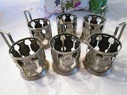 vintage soviet russian set of 6 hot tea glass cup holders ussr signed