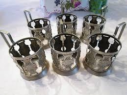 vintage soviet russian set of 6 hot tea glass cup holders ussr signed